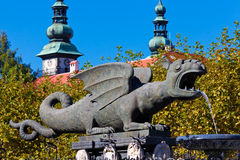 Klagenfurt, Austria. Lindworm Fountain - symbol of the city Klagenfurt in Austria Stock Image