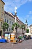 Klagenfurt Austria, Czerwiec, - 3, 2017: Zmienia Platz z Dreifaltigkeitssaeule Świętej trójcy kolumną zdjęcia royalty free