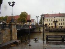 Klaipeda Η παλαιά πόλη και ο κόλπος στοκ εικόνα