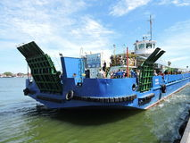 Klaipeda city harbour, Lithuania. Blue Ship-ferry for people transportation stock photo