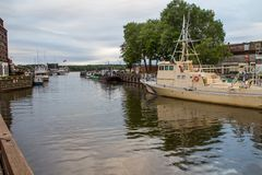 Klaipeda . evening river Danes stock images