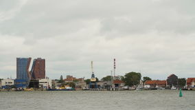 KLAIPEDA, LITHUANIA-AUGUST, 5, 2017.Time-lapse of the harbour in Klaip da. Cloudy day stock video