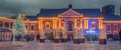 Klaipeda, Lithuania: Christmas lights and decorations in Theatre square. At night stock photo
