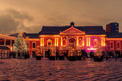 Klaipeda, Lithuania: Christmas lights and decorations in Theatre square. At night royalty free stock photos