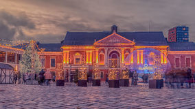 Klaipeda, Lithuania: Christmas lights and decorations in Theatre square. At night stock photos