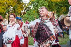 "Klaipeda Lithuania - july 20th, 2018 International folklor fes. Klaipeda Lithuania - july 20th, 2018 Ukrainian folk ensemble ""Kralytsia"", international Royalty Free Stock Photography"