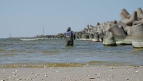 Klaipeda, Lithuania. Man searching valuable amber in sea. stock footage