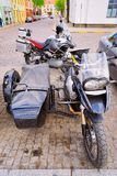 Klaipeda, Lithuania - May 9, 2016: Motorcycle with side car in the street of Klaipeda in Lithuania, Eastern European country on. The Baltic sea stock image