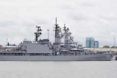 Klaipeda, Lithuanie, août, 10, 2016 Grand bateau anti-sous-marin Photographie stock