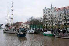Klaipeda miasta symbolu barquentine 'Meridianas' obraz royalty free