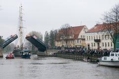 Klaipeda miasta symbolu barquentine Meridianas obraz royalty free