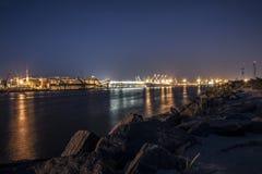 Klaipeda night port stock photo