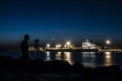 Klaipeda nocy widok Zdjęcie Royalty Free