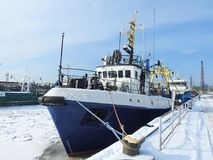 Klaipeda port in winter, Lithuania Stock Images