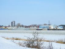Klaipeda port in winter, Lithuania Royalty Free Stock Photography