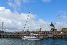 Klaipeda seaport with cargo cranes Stock Photo