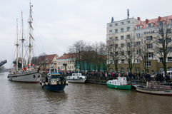 Klaipeda Stadt-Symbol barquentine ?Meridianas? lizenzfreies stockbild