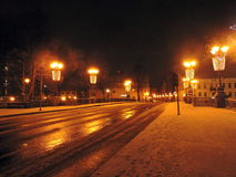 Klaipeda town at night, Lithuania royalty free stock images