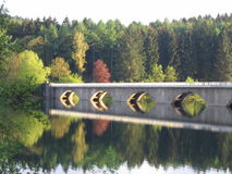 Klamer Bridge. The Klamer Bridge over the Verse dam in autumn Stock Photo