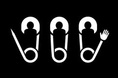Klamerki szpilka zaludnia drużynowych kreatywnie symbole dla loga Zdjęcia Royalty Free