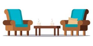 Klamerki sztuki wizerunek: wygodny żywy izbowy meble ilustracja wektor