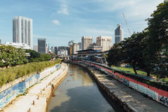 Klang river and cityscape that viewed from sky train station in Kuala Lumpur, Malaysia Royalty Free Stock Photography