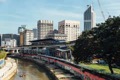 Klang river and cityscape that viewed from sky train station in Kuala Lumpur, Malaysia Stock Photos