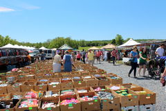 """Klanten de markt bij van de """"Groene Draak"""" landbouwers, Pennsylvania, Mei, 2013 Royalty-vrije Stock Afbeeldingen"""