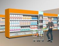 Klanten die bij supermarkt winkelen stock illustratie