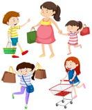 Klanten met zakken en kar vector illustratie