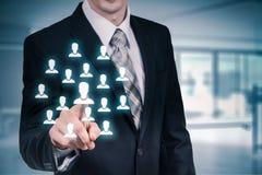 Klantenzorg, verzekering, zorg voor werknemers, personeels, uitzendbureau en marketing segmentatieconcepten Leider manag Stock Afbeeldingen
