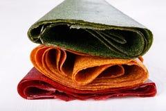 Klapi wysuszona mashed owocowa braja, Kolorowa owocowa skóra -/ fotografia royalty free