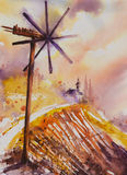 Klapotetz. Watercolor painted illustration of Styrian Tuscany Vineyard with windmill -klapotetz in foreground, Austria Stock Images