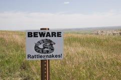 Klapperschlange kennzeichnen innen die Ödländer, South Dakota Stockfoto