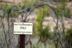 Klapperschlangen-Zeichen Stockfoto