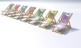 Klappstühle in einer Strecke 5 bis 500 Euros vektor abbildung