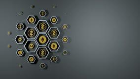 Klar bakgrund för ögla från cryptocurrencysymboler
