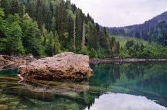 Klar bergsjö och skog Royaltyfria Foton