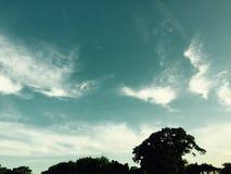 Klar blå himmel, moln Arkivbild