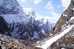 Klar dag för Annapurna basläger Arkivfoton