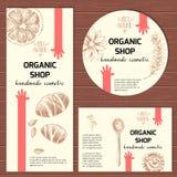 Klar designmall för vektor för organiska kosmetiska produkter Arkivfoto