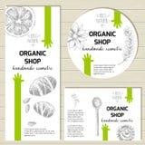 Klar designmall för vektor för organiska kosmetiska produkter, hand Arkivbild