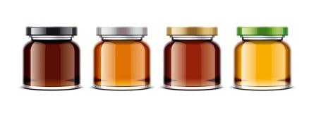 Klar Honey Jar modell förtjusande bakgrund isolerade framställning över liten vit kvinna för signaleringsformat Arkivbilder
