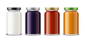 Klar krusmodell för mejerifoods, confiture och såser Stort format Arkivfoton