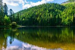 Klar sjö i bergen på sommarväder Arkivfoto