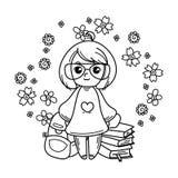 klar skola för gullig flicka till För böcker tryck, affischer, kort stock illustrationer
