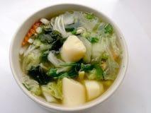 Klar soppa med Bean Curd, blandninggrönsaken, tofuen och havsväxt i den vita bunken på vit bakgrund Vegetarisk mat, sund mat som  Arkivfoton