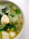 Klar soppa med Bean Curd, blandninggrönsaken, tofuen och havsväxt i den vita bunken på vit bakgrund Vegetarisk mat, sund mat som  Arkivbilder