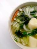 Klar soppa med Bean Curd, blandninggrönsaken, tofuen och havsväxt i den vita bunken på vit bakgrund Vegetarisk mat, sund mat som  Arkivfoto