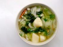 Klar soppa med Bean Curd, blandninggrönsaken, tofuen och havsväxt i den vita bunken på vit bakgrund Vegetarisk mat, sund mat som  Royaltyfri Bild